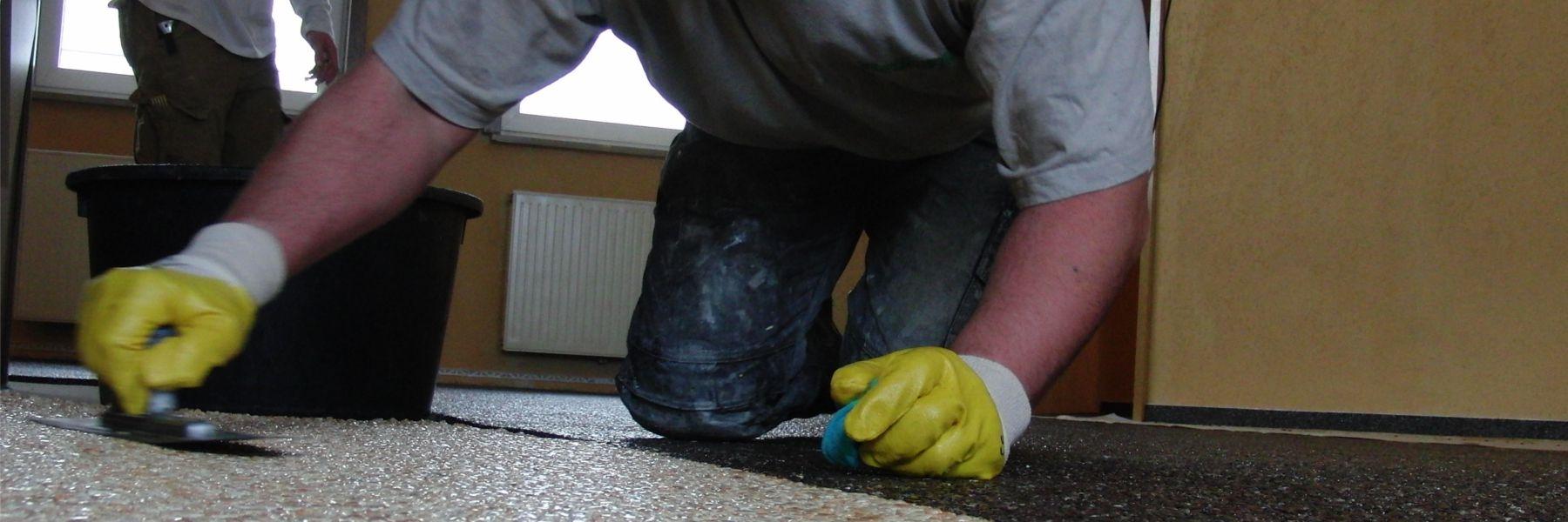 Verlegeharz, Bindemittel und Versiegelung für fugenlose Bodensysteme, wie Steinteppich, Colorquarz