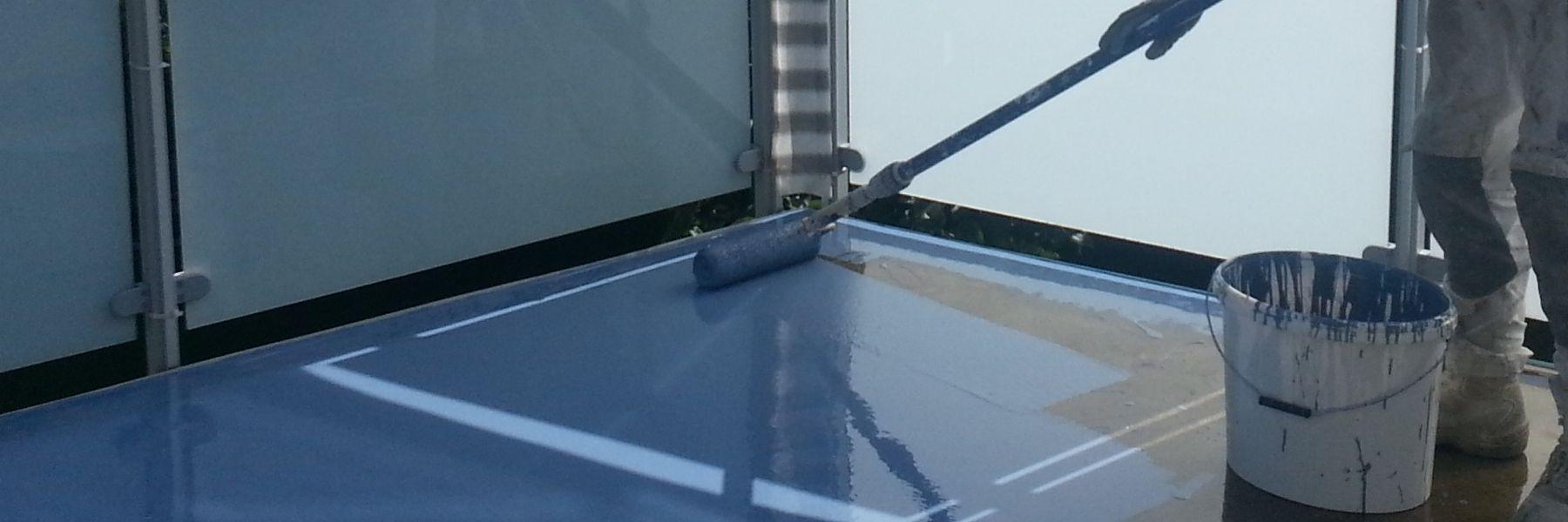 uv-stabil, rissüberbrückende PU-Verlaufsbeschichtung, auch als lichtechte Trägerschicht für Chipsbeläge, Farb-Versiegelung