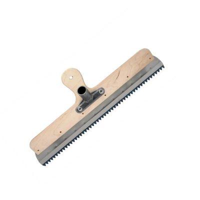 Rakel mit Klemmleiste mit Stielhalter zur Aufnahme von Zahnleisten